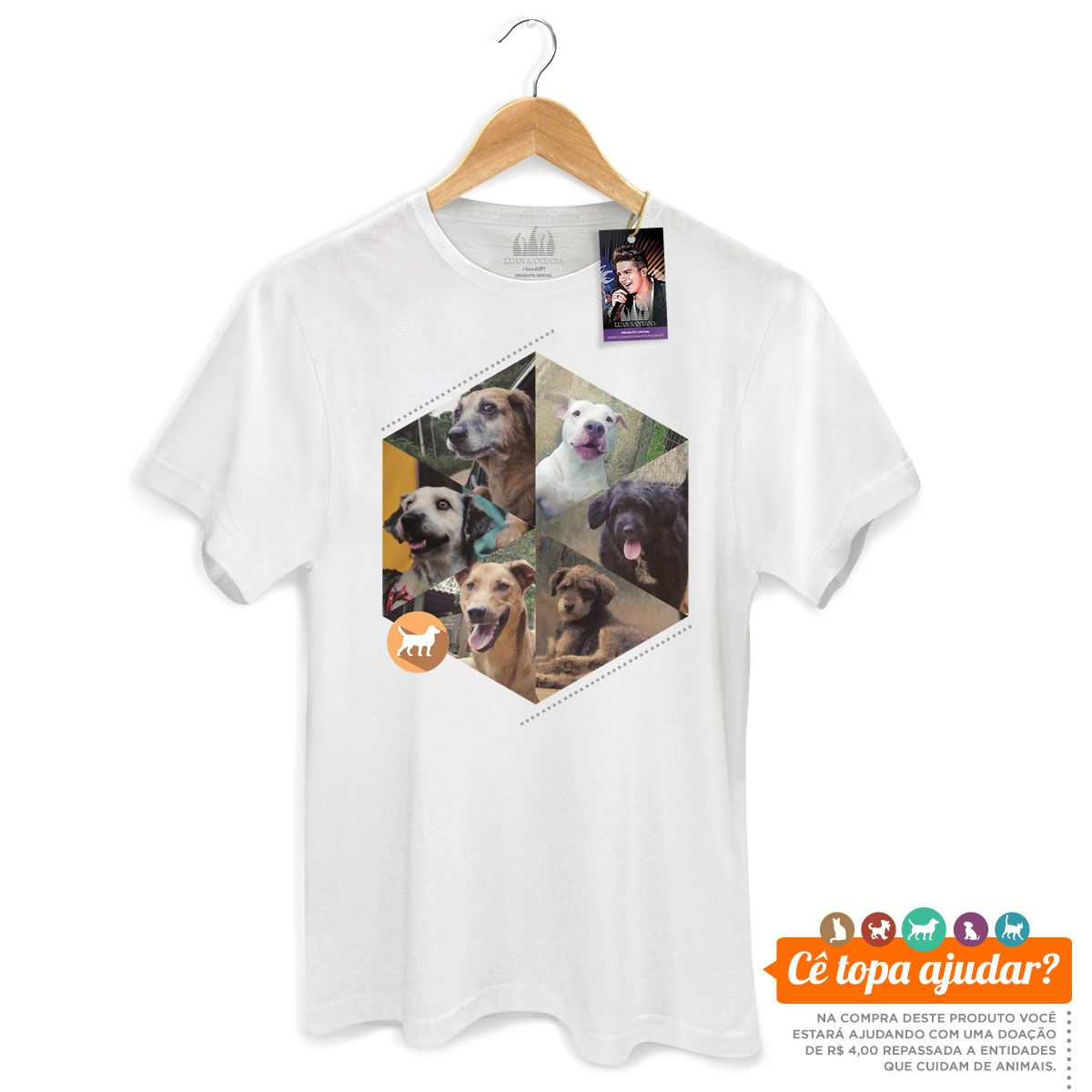 Camiseta Masculina Luan Santana Cê Topa Cuidar da Gente?