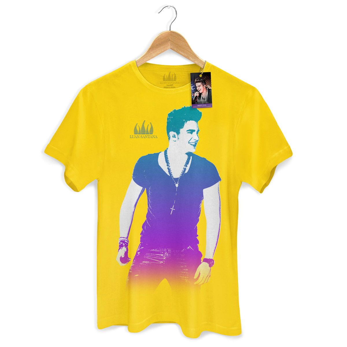 Camiseta Masculina Luan Santana Foto Degradê