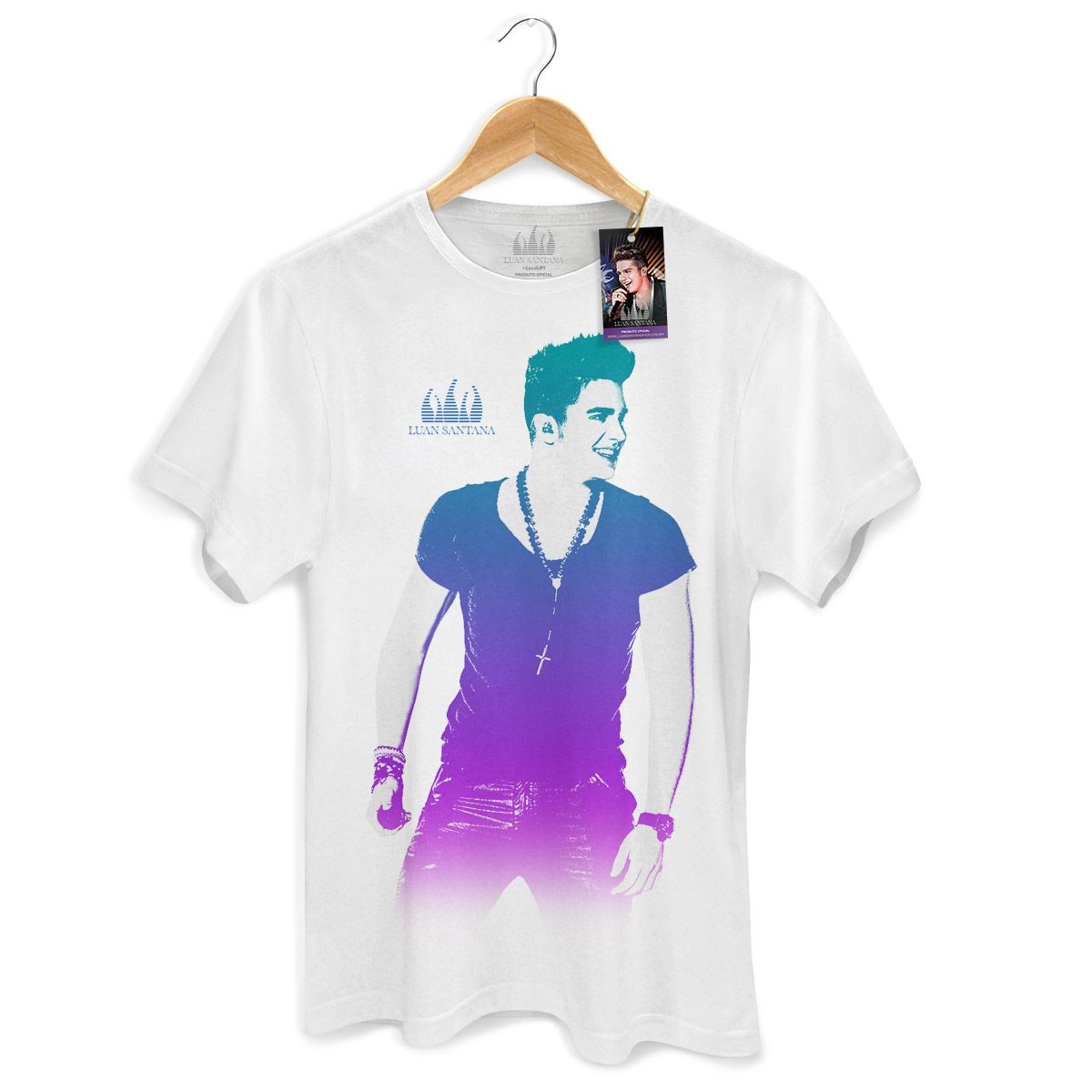 Camiseta Masculina Luan Santana - Foto Degradê Branca