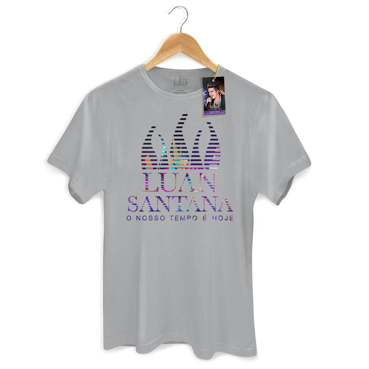 Camiseta Masculina Luan Santana - O Nosso Tempo é Hoje Logo
