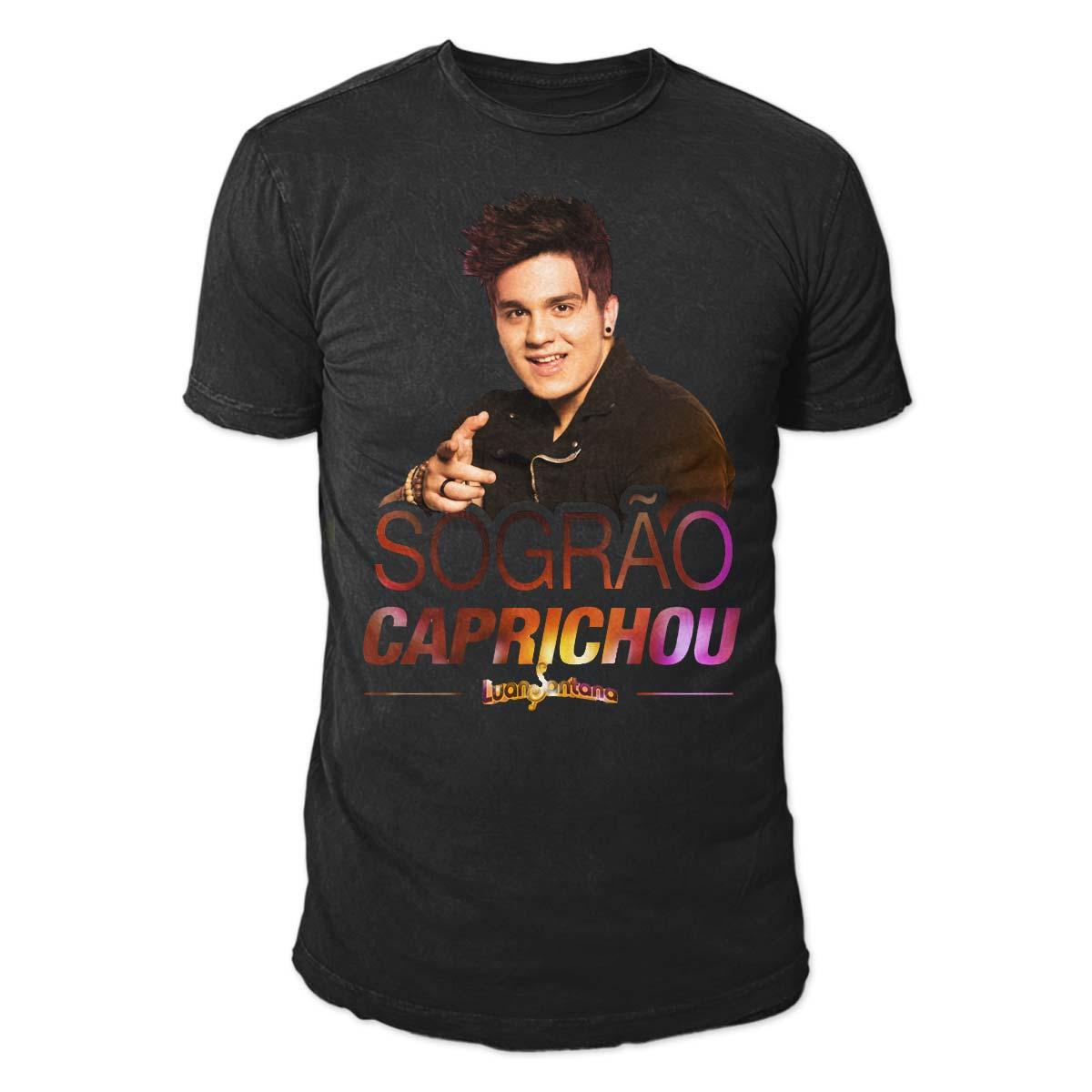 Camiseta Masculina Luan Santana - Sogrão Caprichou PRETA