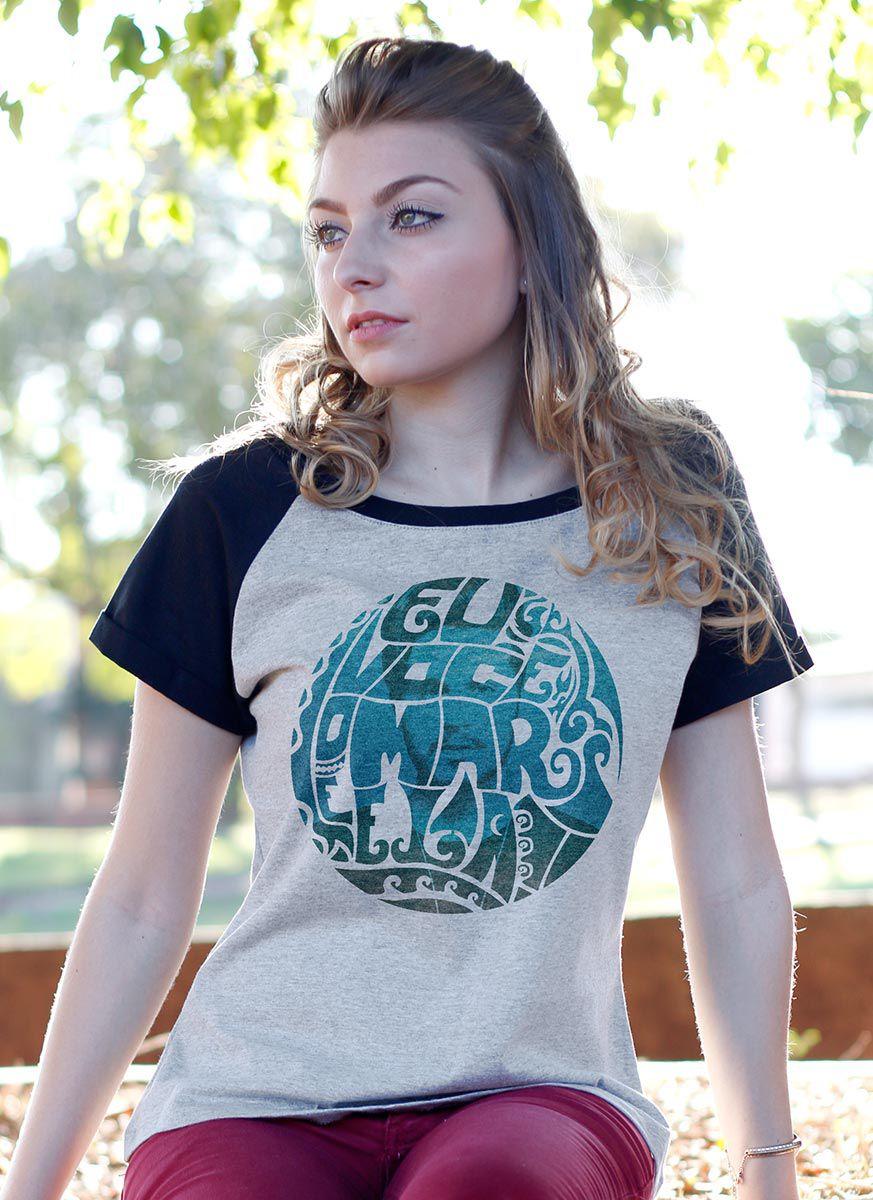 Camiseta Raglan Feminina Luan Santana Eu, Você, o Mar e Ela