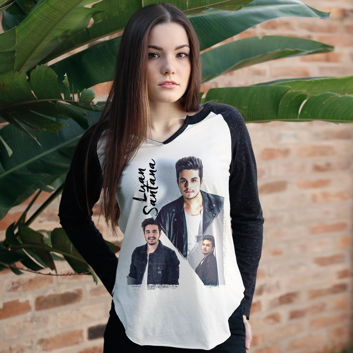 Camiseta Manga Longa Feminina Luan Santana Poses