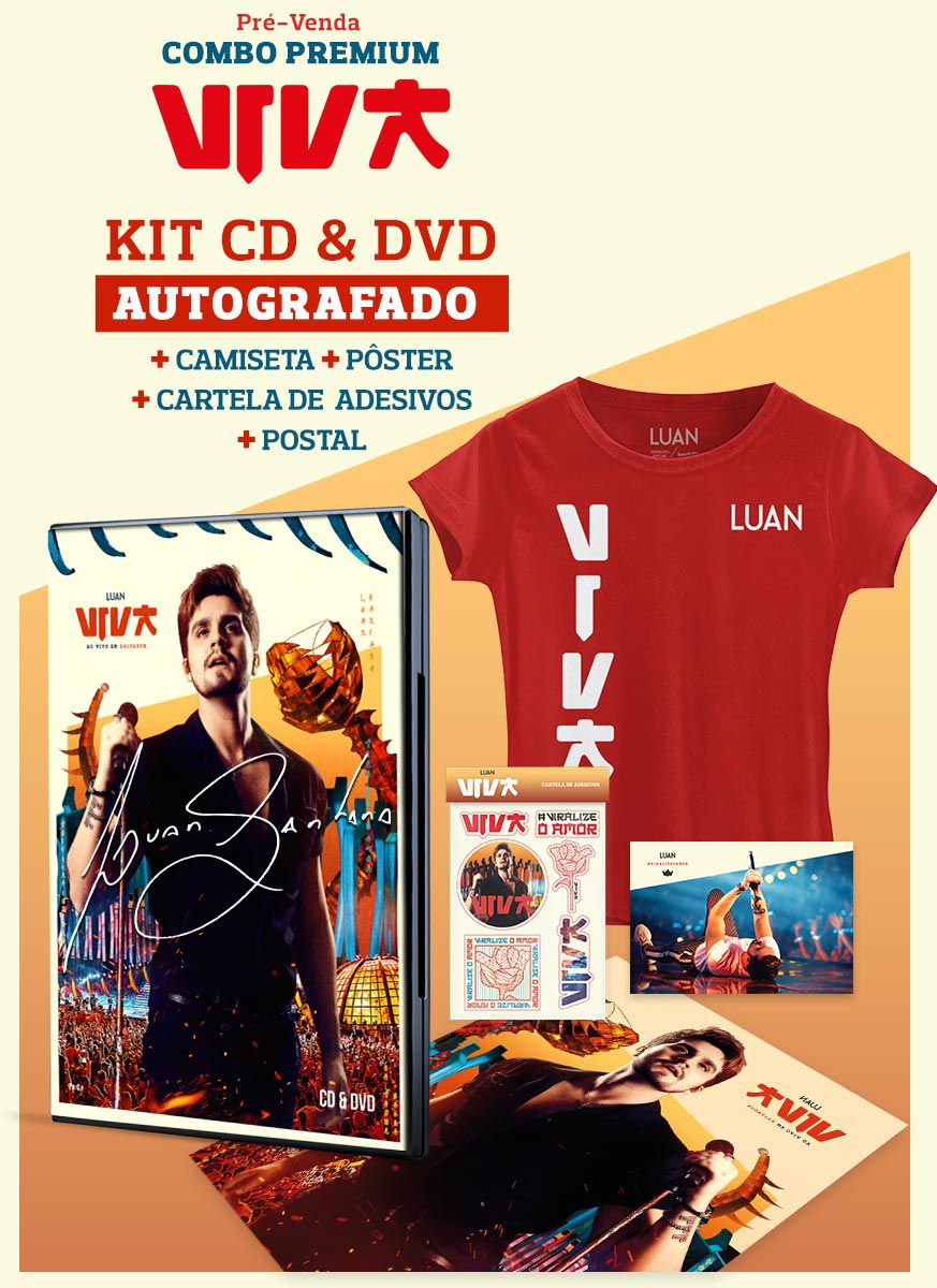 Pré-Venda Combo Premium AUTOGRAFADO Luan Santana Viva CD & DVD + Camiseta Feminina + Pôster + Cartela de Adesivos + Cartão Postal