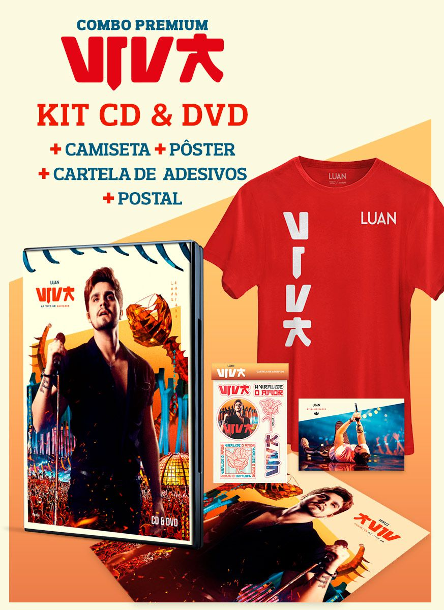 Combo Premium Luan Santana Viva CD&DVD + Camiseta Masculina + Pôster + Cartela de Adesivos + Cartão Postal