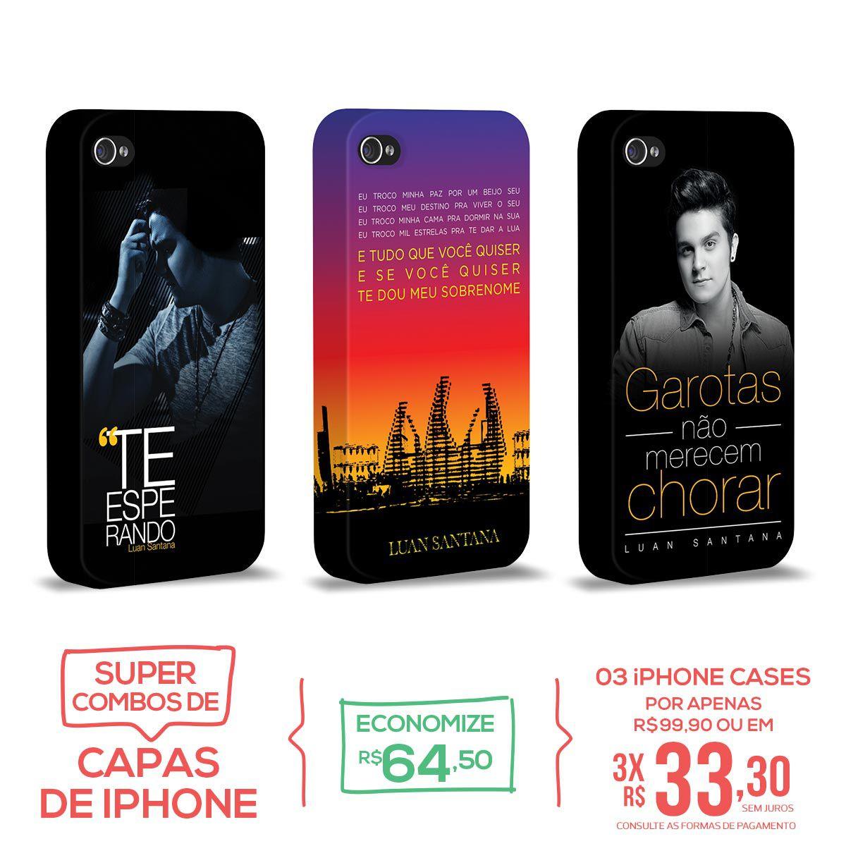 Kit Com 3 Capas de iPhone 4/4S Luan Santana - Concept