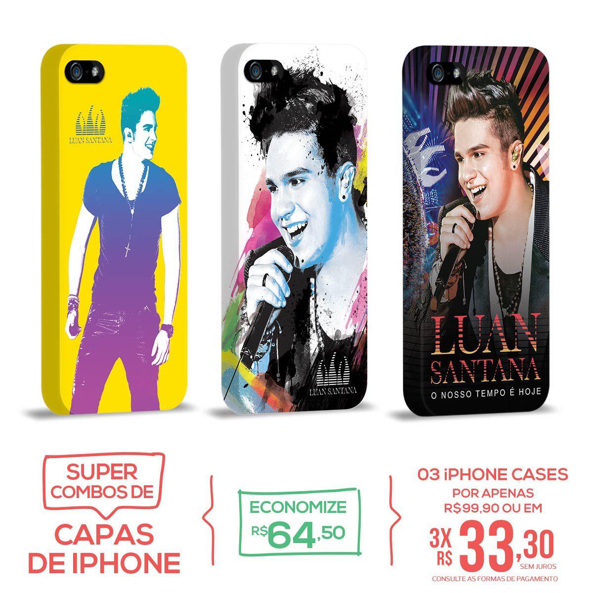 Kit Com 3 Capas de iPhone 5/5S Luan Santana - O Nosso Tempo é Hoje