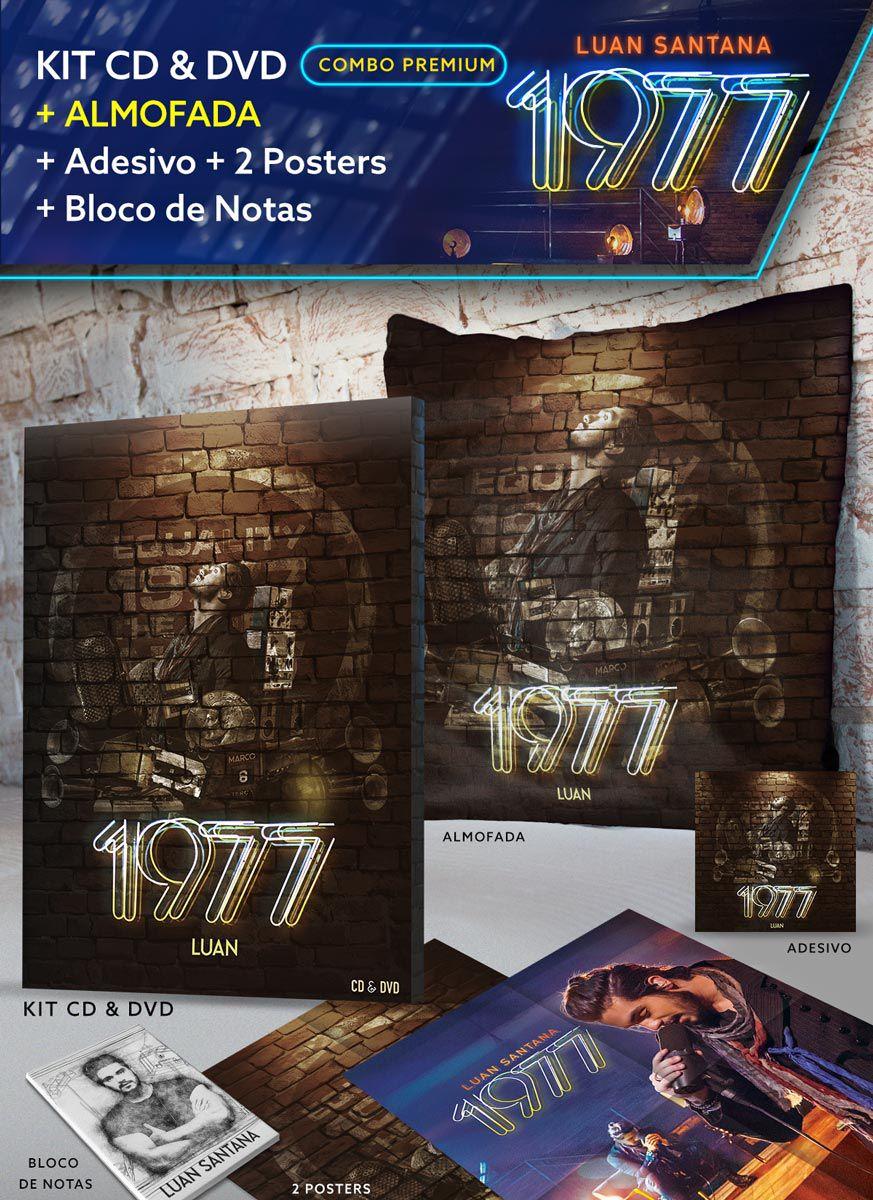 Combo Premium Luan Santana Kit de CD & DVD 1977 + Almofada + 2 Pôsteres + Adesivo + Bloco GRÁTIS