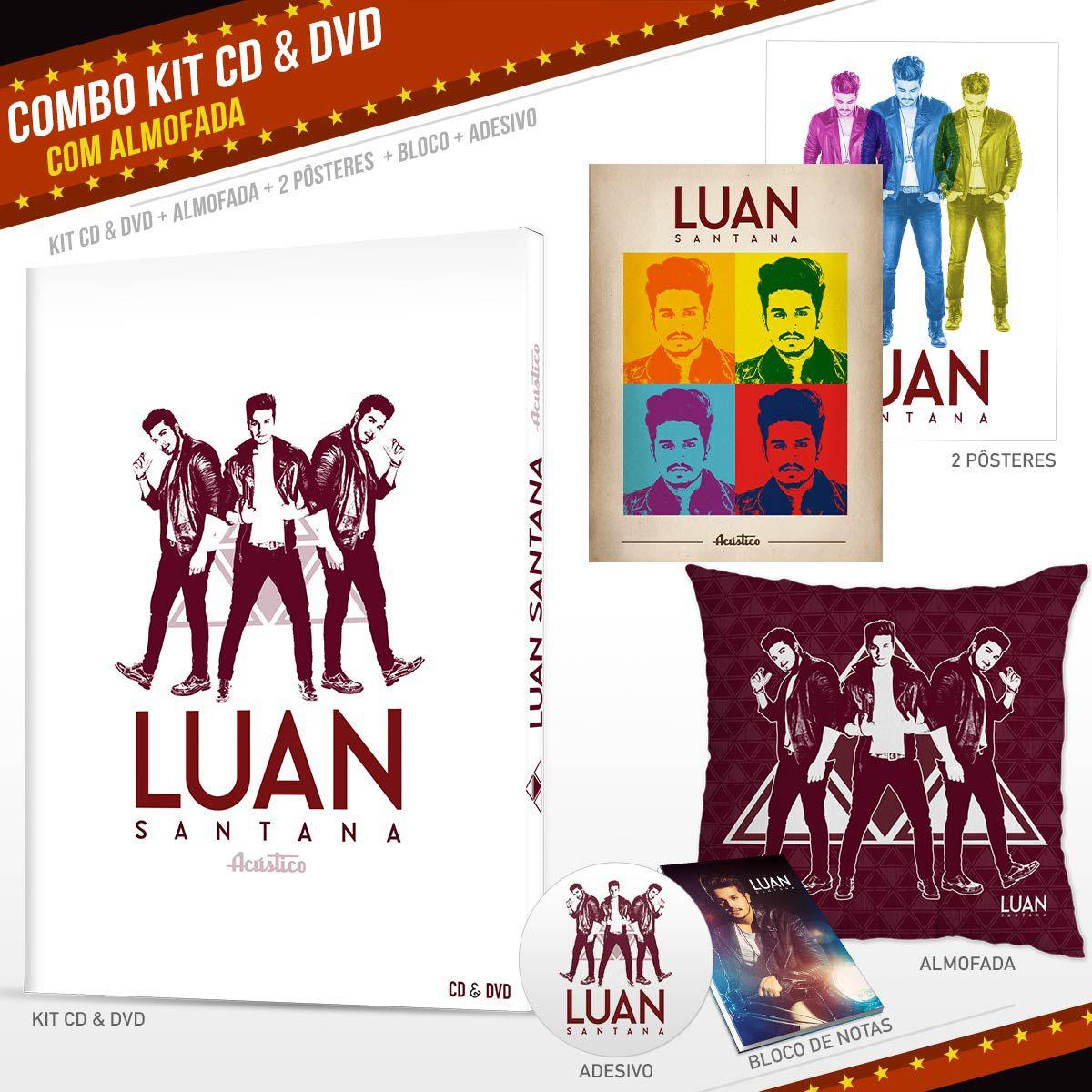 Combo com Kit CD & DVD Luan Santana Acústico + Almofada