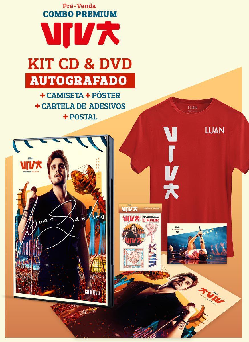 Pré-Venda Combo Premium AUTOGRAFADO Luan Santana Viva CD+DVD + Camiseta Masculina + Pôster + Cartela de Adesivos + Cartão Postal