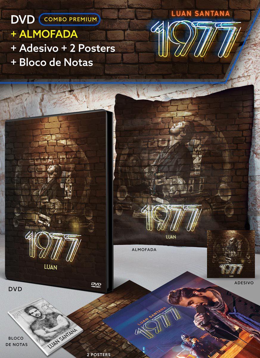 Combo Premium Luan Santana 1977 DVD + Almofada + 2 Pôsteres + Adesivo + Bloco Grátis