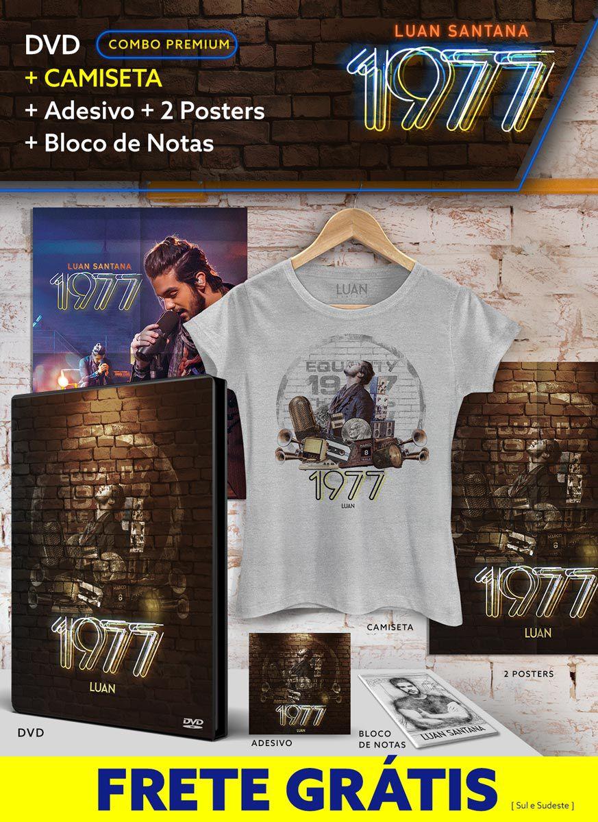 Combo Premium Luan Santana 1977 DVD + Camiseta + 2 Pôsteres + Adesivo + Bloco GRÁTIS