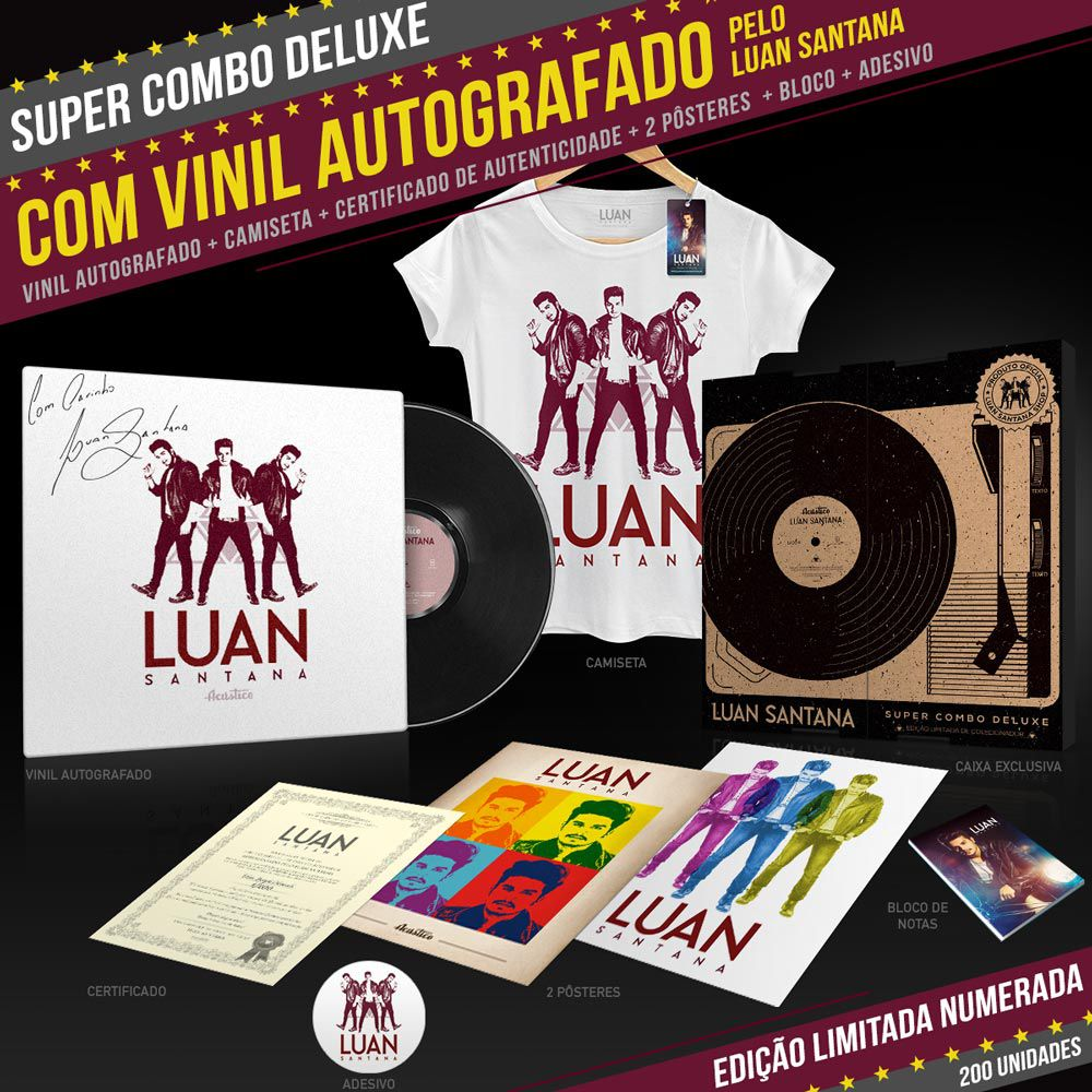Super Combo Deluxe com Vinil LP AUTOGRAFADO + Camiseta