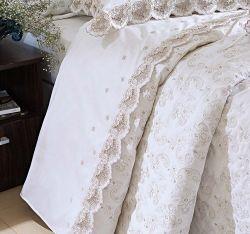 Jogo de Cama Casal Queen Vietri Bordado - 100% Algodão 400 Fios Egípcio - 04 Peças - Branco/Caqui