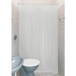 Cortina para Banheiro Box Clean 1,4m - Tecido PVC - Com Kit Para Instalação - Transparente