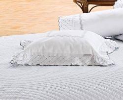 Almofada Avulsa Bordada Amaretto - 100% Algodão 400 Fios - Fio Egípcio - Branco/Prata