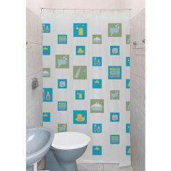Cortina para Banheiro Box Clean 1,4m - Tecido PVC - Com Kit Para Instalação - Quadrado - Estampa 01