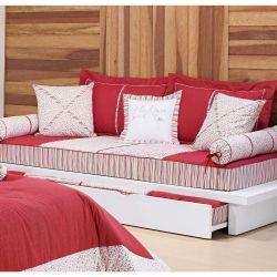 Bicama Solteiro (beliche) Ágatha 04 Peças - 100% Algodão 200 Fios - Vermelho