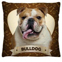 Capa para Almofada Estampada Tecido Microfibra - Bulldog A256
