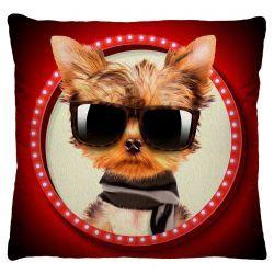 Capa para Almofada Estampada Tecido Microfibra - Cachorro Charmoso A246