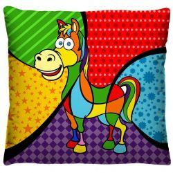 Capa para Almofada Estampada Colorida Tecido Microfibra - Cavalo A232