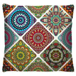 Capa para Almofada Estampada Colorida Tecido Microfibra - Mandala A183