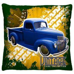 Capa para Almofada Estampada Vintage Tecido Microfibra - Caminhão A222
