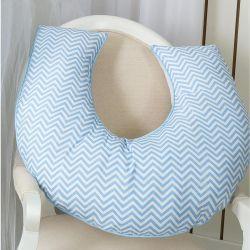 Apoio para Amamentar Bebê Coleção Elefante Azul 180 Fios  - Chevron Azul