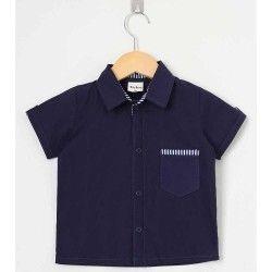 Camisa Lisa Manga Curta 01 Peça Com Bolso Frontal - Azul Tamanho 01