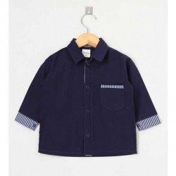 Camisa Lisa Manga Longa 01 Peça Com Bolso Frontal - Azul Tamanho 01