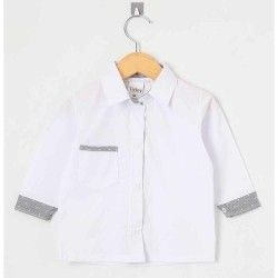 Camisa Lisa Manga Longa 01 Peça Com Bolso Frontal - Branco Tamanho 01