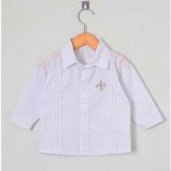 Camisa Lisa Manga Longa 01 Peça Bordado Frontal - Branco Tamanho 01