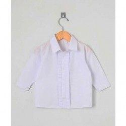 Camisa Lisa Manga Longa 01 Peça Detalhe em Pregas  - Branco Tamanho 01