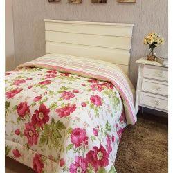 Edredom Dupla Face Casal Queen Campestre 01 Peça Percal Misto 160 Fios - Floral Pink