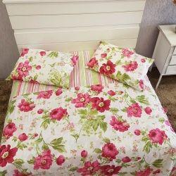 Jogo de Cama Casal Queen Estampado Campestre 04 Peças Percal Misto 160 Fios - Floral Pink
