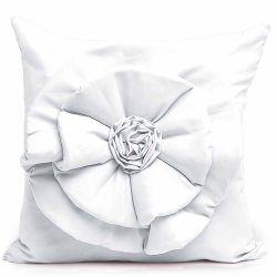 Capa Almofada Floralle com Zíper  01 Peça Detalhe de Flor - Branco