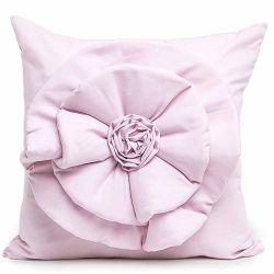 Capa Almofada Floralle com Zíper  01 Peça Detalhe de Flor - Rosa Claro