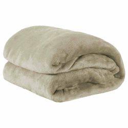 Cobertor Casal Manta de Microfibra 01 Peça (Toque Aveludado) - Caqui