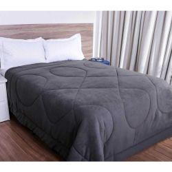Cobertor Queen Smaniotto Dupla Face Manta Soft Liso 01 Peça - Chumbo