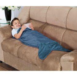 Cobertor Infantil Calda de Tubarão Saco de Dormir 01 Peça (Toque Aveludado) - Azul