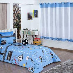 Cobre Leito Solteiro Zilu Kids 04 Peças c/ Cortina para Varão - Futebol Azul