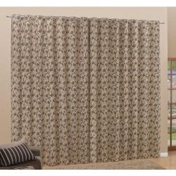 Cortina Sublime 2,20m x 1,80m Jacquard - Floral Tabaco/Fundo Bege