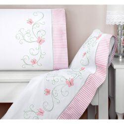 Jogo de Lençol Solteiro Diana 03 Peças - 100% Algodão Branco com Rosê