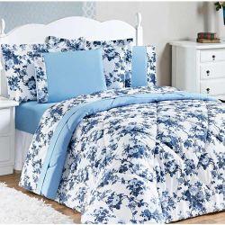 Edredom King Murano Dupla Face 03 Peças 150 Fios - Floral Azul