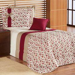 9af7eb1270 Edredom Solteiro Julia 03 Peças Estampado - Floral Vermelho