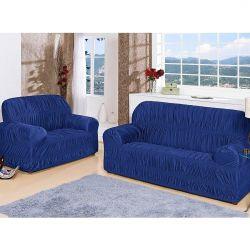 Capa de Sofá Flor de Liz Para 1, 2 e 3 Lugares 25 Elásticos Tecido Malha - Azul Royal