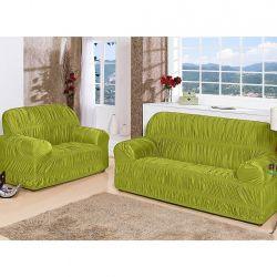 Capa de Sofá Flor de Liz Para 1, 2 e 3 Lugares 25 Elásticos Tecido Malha - Verde