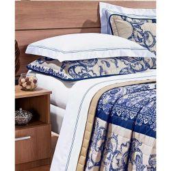 Jg. de Lençol King Petra 04 Peças 100% Algodão 200 Fios - Cor 68 Branco/Azul