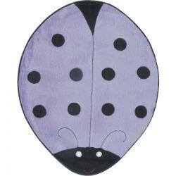 Tapete com formato de Joaninha Big Tecido de Pelúcia 1,30m x 1,20m - Lilás