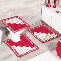 Jogo de Banheiro Napolis 03 Peças Crochê 100% Algodão - Vermelho